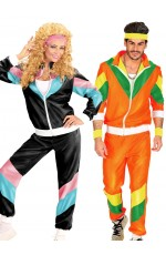 Couple 80s Shell Suit Dress Up Black Orange Tracksuit Costume