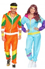 Couples 80s Shell Suit Blue Orange Track suit Costume