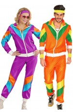 Couple 80s Shell Suit Dress Up Purple Orange Tracksuit Costume
