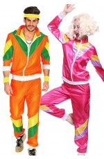 Couple 80s Shell Suit Dress Up Orange Pink Tracksuit
