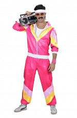 80s Mens Shellsuit Dress Up Tracksuit Pink Costume