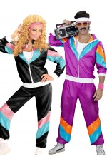 Couple 80s Shell Suit Dress Up Purple Black Tracksuit Costume