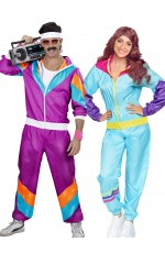 Couple 80s Shell Suit Dress Up Purple Blue Tracksuit Costume