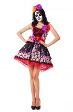 Ladies Day of the Dead Sugar Skull Halloween Fancy Dress Costume Spanish Dress Senorita