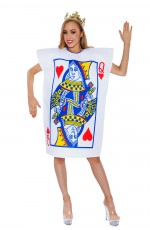 Womens Alice Queen Of Hearts Poker Playing Card Fancy Adult Costume in Wonderland