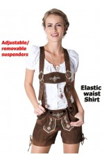 Ladies Oktoberfest German Bavarian Beer Maid Vintage Costume Lederhosen