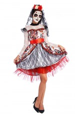 Ladies Day of the Dead Sugar Skull Halloween Fancy Dress Costume