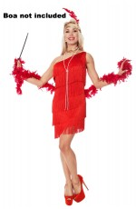 Ladies 1920s Flapper Fancy Dress Costume red
