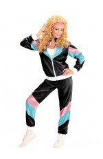 Black Ladies 80s Sweat Tracksuit Fashion Costume