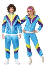 Couples 1980s Shell Suit Dress Up Blue Tracksuit Costume