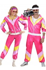 Couples 80s Shellsuits Dress Up Hot Pink Tracksuit Costume