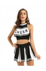 Black Cheerleader School Girl Uniform Costume