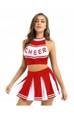 Red Cheerleader School Girl Uniform Costume