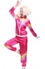 Pink 80s Retro Neon Tracksuit Height Of Fashion Costume