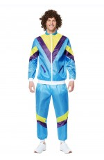 Mens Blue 80s Height Fashion Tracksuit Shell Suit