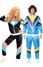 Couple 80s Shell Suit Dress Up Blue Black Tracksuit Costume