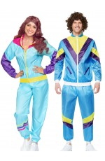 Couple 80s Shell Suit Dress Up Blue Tracksuit Costume
