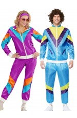 Couple 80s Shell Suit Dress Up Blue Purple Tracksuit Costume
