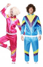 Couple 80s Shell Suit Dress Up Blue Pink Tracksuit