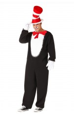Adult Mens Dr Seuss Cat In The Hat Jumpsuit Party Book Week Fancy Costume Outfit
