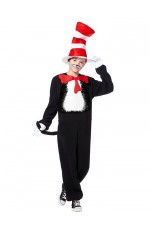 Kids Dr Seuss Cat In The Hat Jumpsuit Party Book Week Fancy Costume Outfit