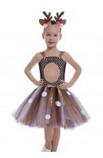 Girls Xmas Reindeer Costume Tutu Dress