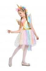 Girls Unicorn Princess Rainbow Fancy Dress Costume
