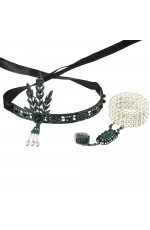 Green 1920s flapper costume headpiece bracelet ring set