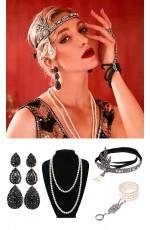 4pcs Black Roaring 1920s Accessories Set