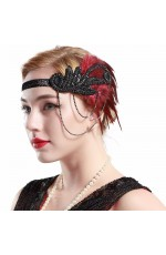 1920s Headband Black Red Feather Vintage Bridal Great Gatsby Flapper Headpiece gangster ladies