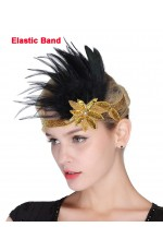 1920s Headband Gold Feather Vintage Bridal Great Gatsby Flapper Headpiece gangster ladies