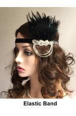 Black 20s Vintage Flapper Headband