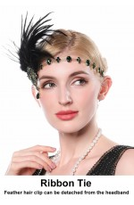 20s headband with black feather and green Rhinestones