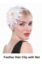 20s Feather Hair Clip with Net accessory