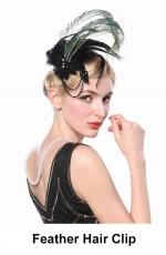20s Black Gatsby Feather Hair Clip