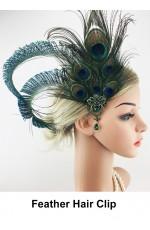 1920s Green Peacock Feather Hair Clip
