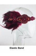 1920s Red Feather Headband