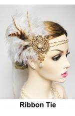 1920s Bridal Headband White Feather