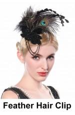 1920s Bridal Head Clip Black Peacock Feather