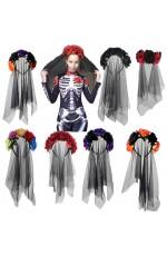 Halloween Day of the Dead Black Veil Rose Headband
