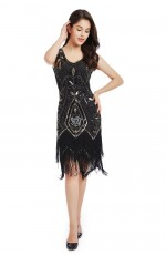1920s Great Gatsby Black Women Dress