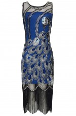 Ladies Blue Great Flapper Gatsby Costume