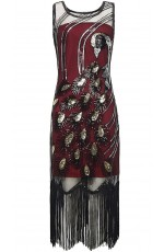 Gatsby Flapper Fancy Dress Red Wine