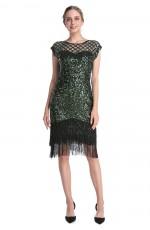 Green 1920 gatsby flapper dress