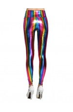 1980s 1990s 80s Neon Rainbow Leggings Disco Fluro Metallic Costume Pants Madonna Cyndi Lauper