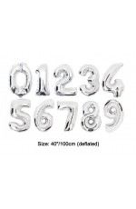 "Silver 40""  Numbers Air Inflatable Balloon"