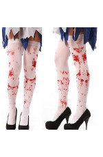 Tight High Stockings Halloween Horror White Bloody Blood Stained Socks Gothic Scary Nurse