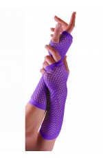 Purple Fishnet Gloves Fingerless Wrist Length 70s 80s Women's Neon Accessories