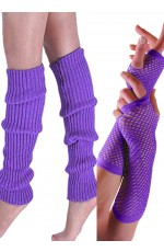 80s Neon Purple Fishnet Gloves Leg Warmers accessory set