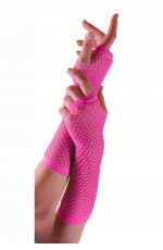 Pink Fishnet Gloves Fingerless Elbow Length 70s 80s Women's Neon Party Dance